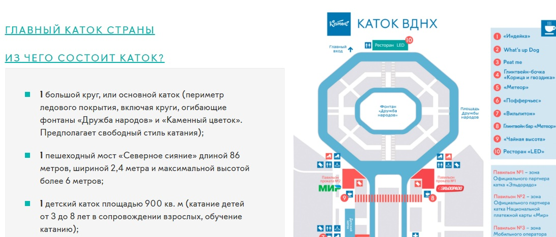 Карта катка ВДНХ