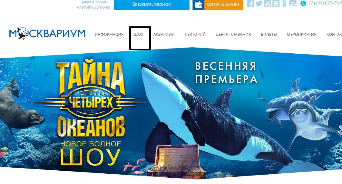 Шоу программы Москвариума на официальном сайте